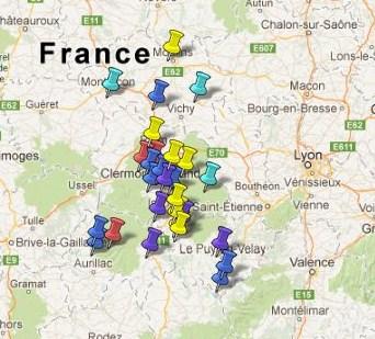 Carte Des Villes Et Villages Classs En Auvergne