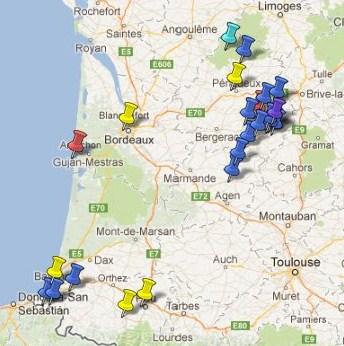 Carte Des Villes Et Villages Classs En Aquitaine