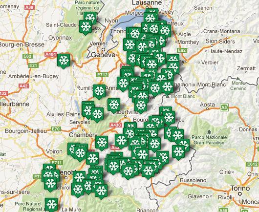 Carte des stations de ski Rhône-Alpes