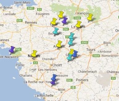 Carte des Villes et Villages Classés des Pays de la Loire